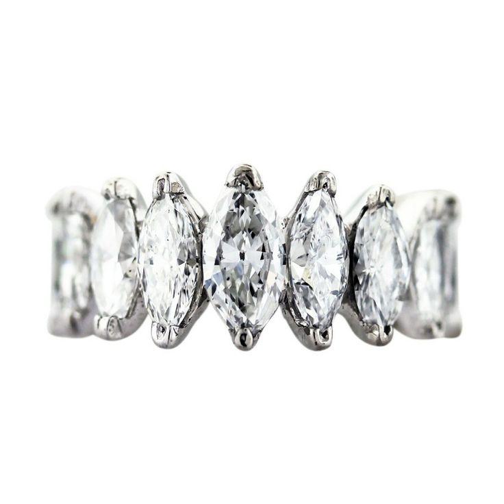 4 carat marquise diamond and platinum eternity band
