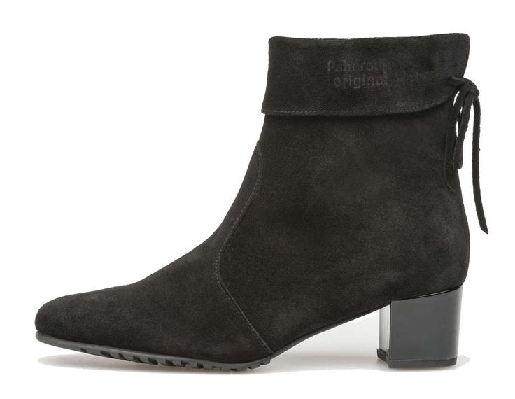 Palmroth mid high heel ankle boot black suede