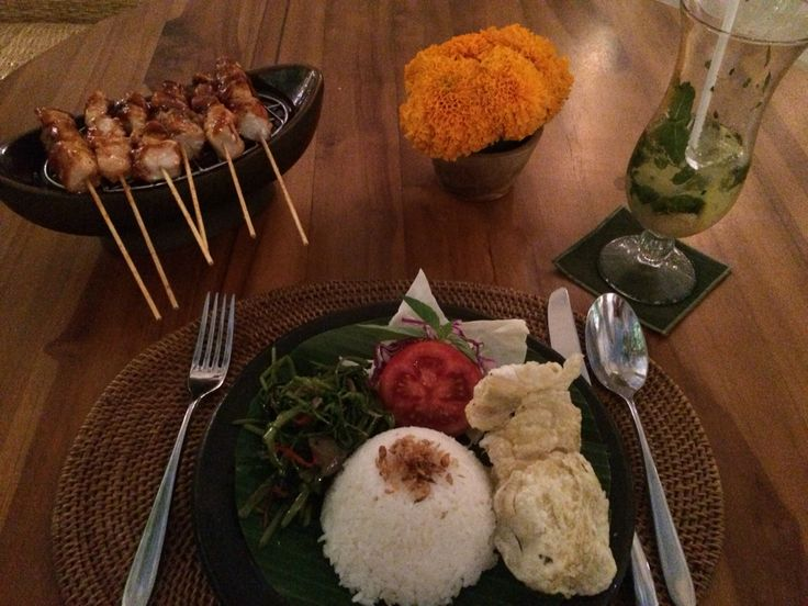 Fish Satay, Spicy Kangkung - Bali