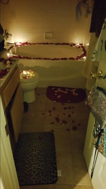 Romantic bubble bath he surprised me with