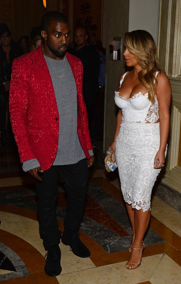 Kanye West wears Comme Des Garcons Homme Plus Fall 2013 Blazer in Vegas | UpscaleHype