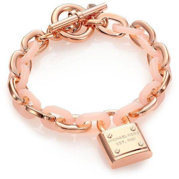 Michael Kors Rose & Blush Padlock Charm Bracelet featuring polyvore, fashion, jewelry, bracelets, apparel & accessories, rose gold, bracelet bangle, michael kors bangle, pink bangles, clasp charms and charm bangle