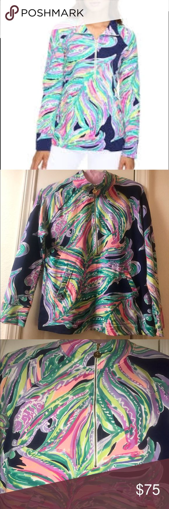 Lilly Pulitzer Popover, Don't Leave Me Hanging Lilly Pulitzer Women's Skipper Popover, Bright Navy Don't Leave Me Hanging worn 3 times no stains rips or marks dry cleaned each time Lilly Pulitzer Jackets & Coats
