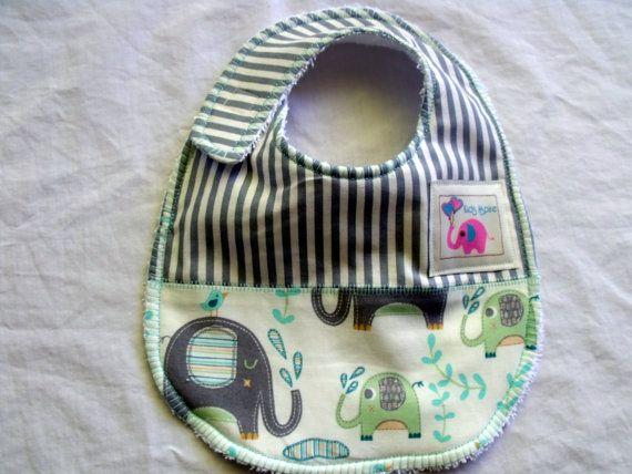 Baby Bib  boys blue elephantsstripes water birds by KidsAspire, $8.50