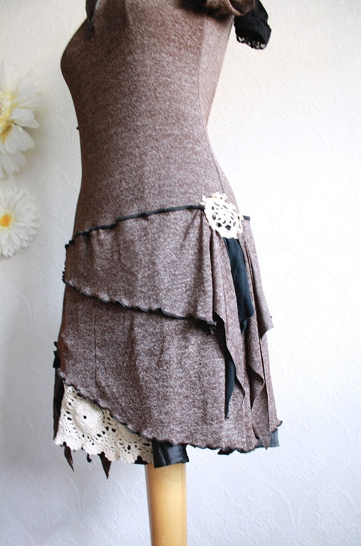 Brown Hooded Dress Upcycled Clothing Black Bell Sleeves Bohemian Style Fall Fashion Ladies Clothes Boho Chic Medium Large 'JUNO'. $109.00, via Etsy.