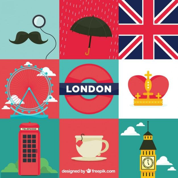 London Element Illustrations Free Vector