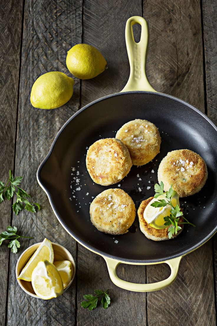Crab Cakes Cooked On A Cast Iron Le Creuset Skillet