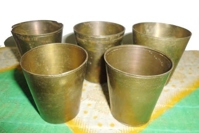 set of 5 small pure brass glasses for your home decor or may also be