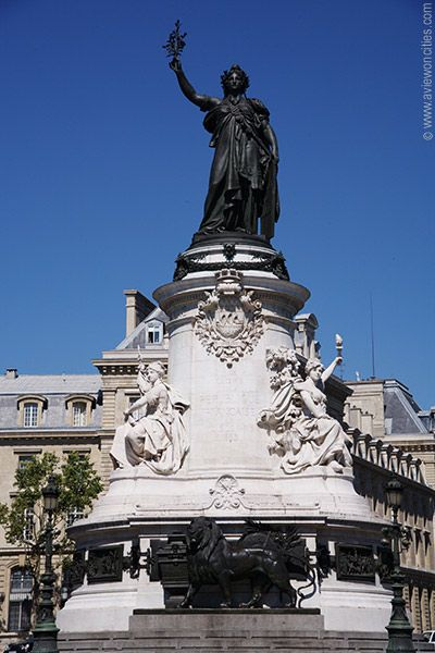 Place de la republique,Paris.  Our hotel was down the street from here.  Walked here daily to get to the metro or to eat.