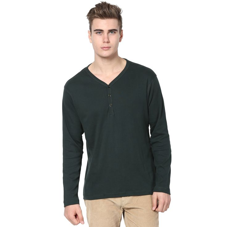 MUDO Solid Dark Leaf Green Henley T-shirt for men