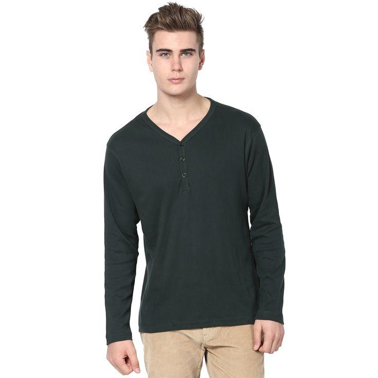 MUDO Solid Dark Leaf Green Henley T-shirt for men