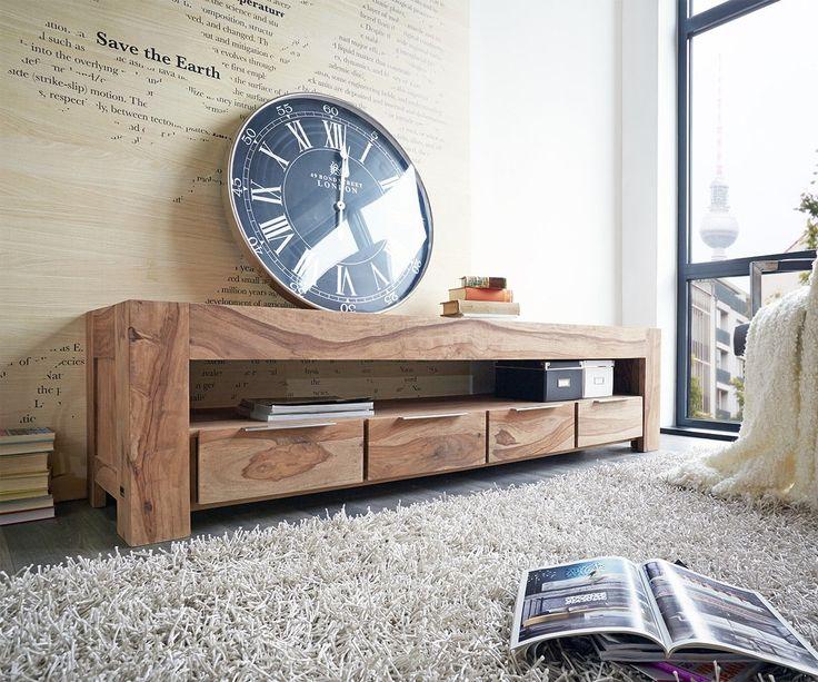 Lowboard Blokk 200 cm Sheesham Natur 4 Schübe Massiv Möbel Tische Fernsehtische