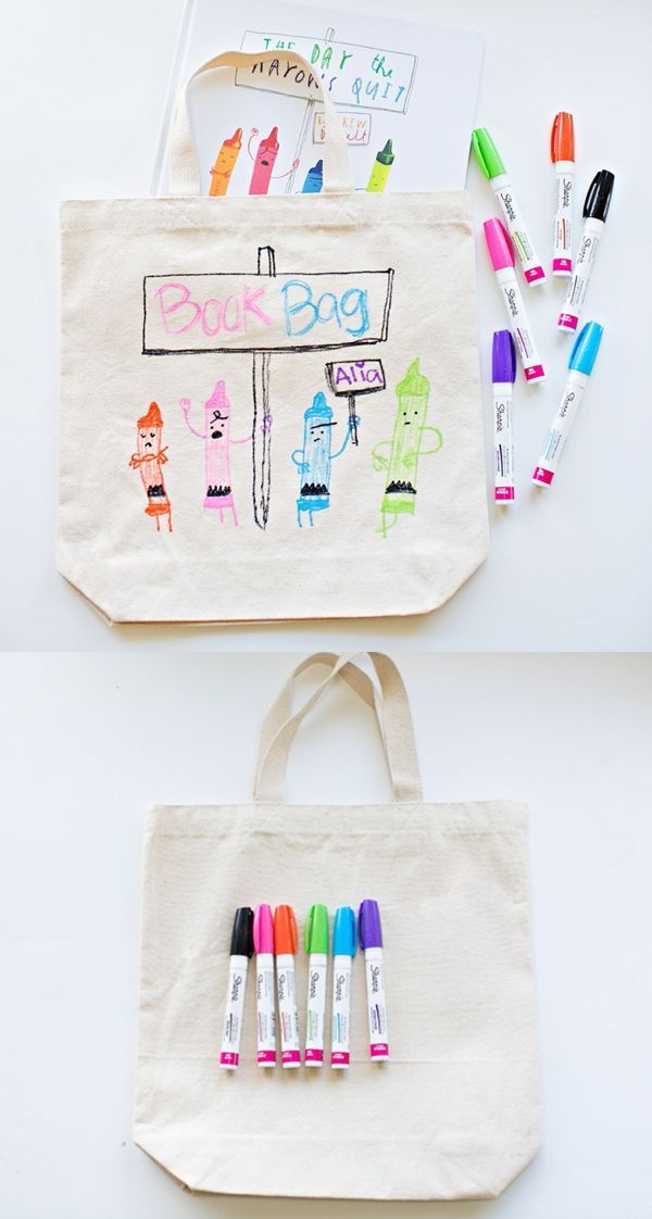 DIY Library Book Bag for Kids. Get kids excited about reading by making their own book bag based off their favorite children's book covers and illustrations. Fun way to get them excited about summer reading.