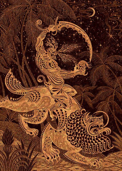 Al-Ahmar, the Red King #islamic #jinn #djinn #genie #illustration #mythology #yellow #orange #edkwong #mademythos #lion #sword #palm