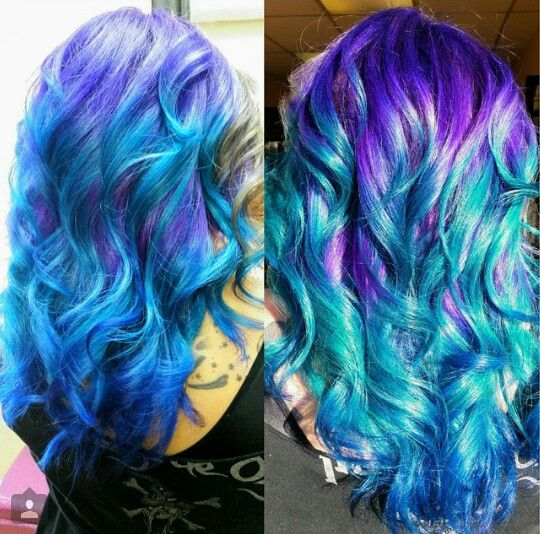 Two Tone Purple Blue Ombre Dyed Hair