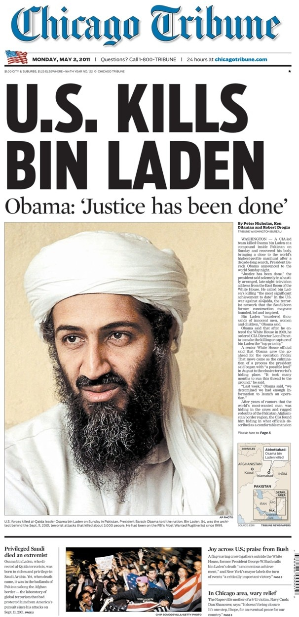 05/02/11 - Bin Laden (one of the FBI's 10 most wanted) was shot and killed inside a private residential compound in Pakistan by U.S. Navy Seals.