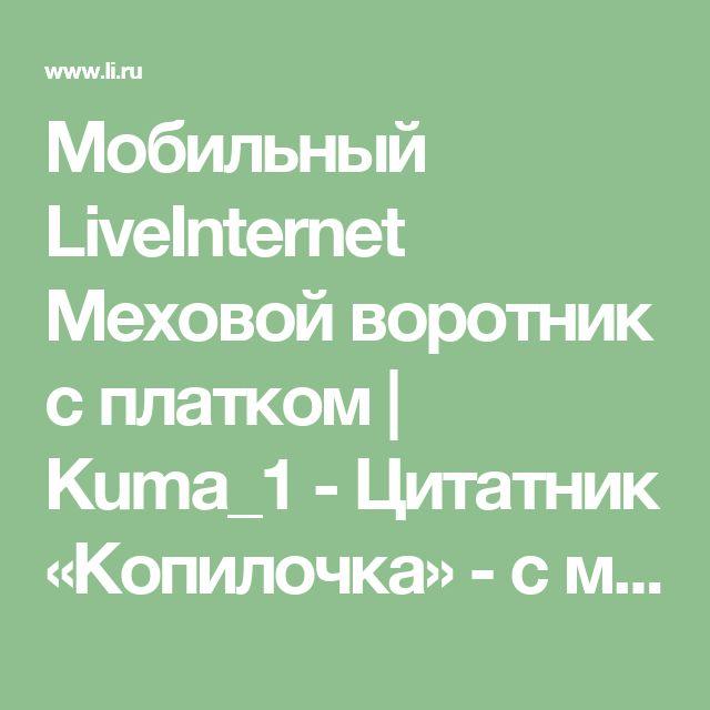Мобильный LiveInternet Меховой воротник с платком | Kuma_1 - Цитатник «Копилочка» - с миру по нитке...  |