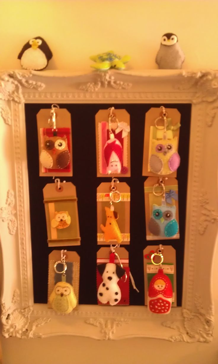 A small collection of felt keyring charms and brooches I have made over the past few months