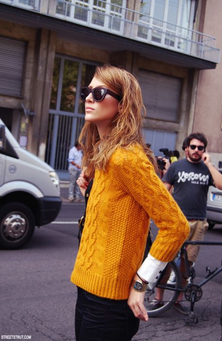 Orange chunky cable-knit