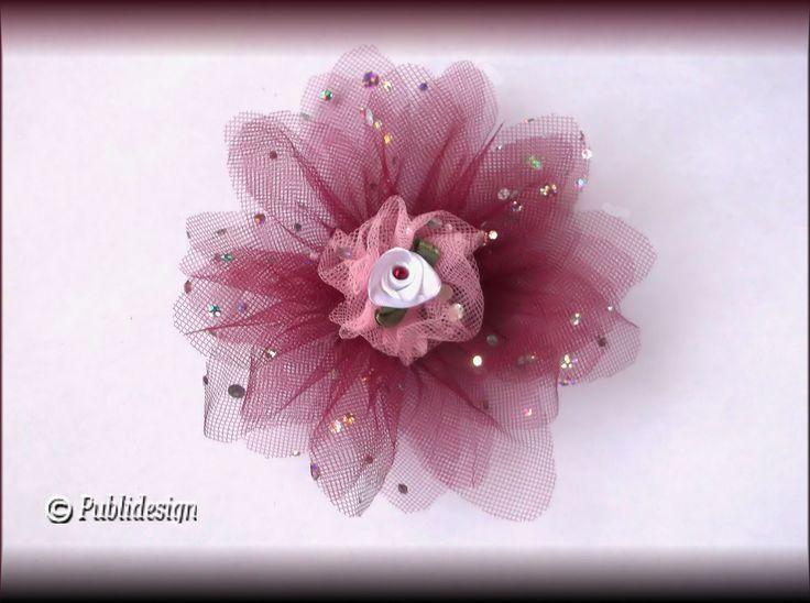 Barrette cheveux Fleur 3D en tulle bordeaux mariage diam 14cm : Accessoires coiffure par orkan28