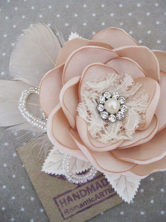 Champagne Bridal Flower Hair Piece.
