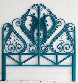 Painted Furniture •~• teal wicker headboard