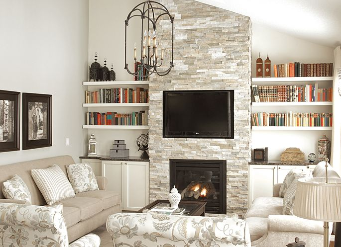 Olympia Tile Quartzite Stacked Stone, love the whole color scheme of this room