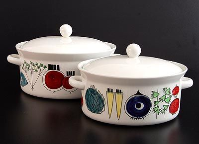 Earthenware covered pans 2 sizes Picknick design Marianne Westman 1956 executed by Rörstrand / Sweden