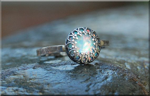Light Opal Ring, Crown Bezel Set Opal Ring, Sterling Silver gemstone Ring, Opal Cocktail Ring, Stacking Ring, Fire Opal Promise Ring