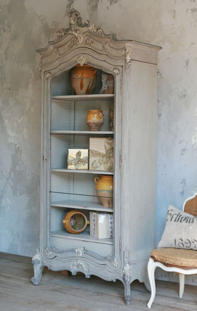 French Armoire with Chicken Wire Door