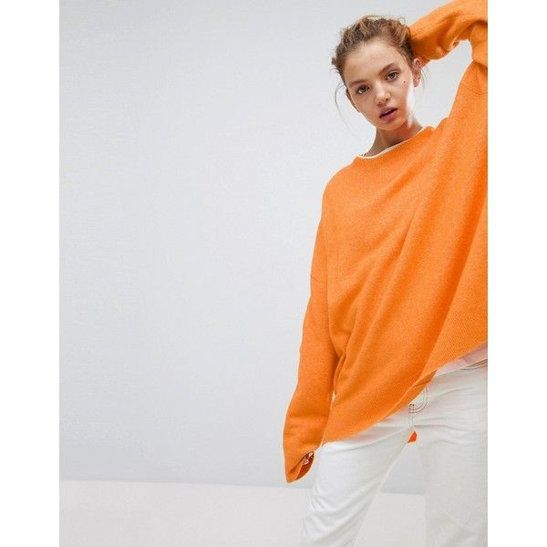 Weekday Batwing Knit Sweater (€59) ❤ liked on Polyvore featuring tops, sweaters, orange, batwing oversized sweaters, batwing knit sweater, batwing sleeve tops, batwing sleeve sweater and batwing sweaters