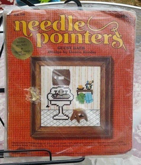 Needle Pointers Guest Bath Needlepoint Kit/Cross Stitch, Vintage 1975, NIP #SunsetDesigns
