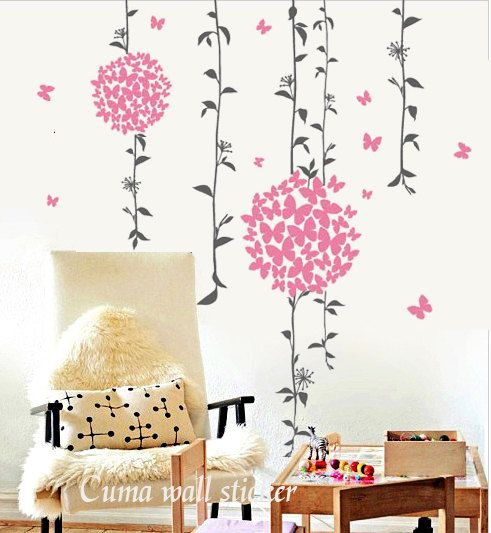 wall decal pink flowers nature Vinyl wall decals butterfly murals wall sticker- Vine with butterfly pink floral ball Z108. $42.00, via Etsy.