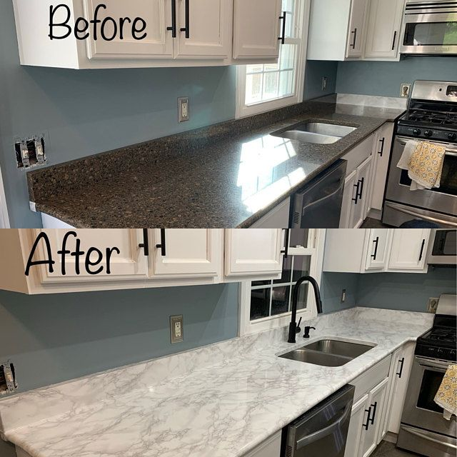 Self Adhesive Vinyl Paper Marble Granite Stainless Steel Peel Etsy In 2021 Diy Kitchen Renovation Vinyl Countertops Countertop Makeover
