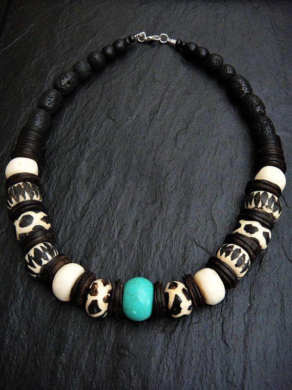 Bone and Silver Necklace Retro 80\u2019s Wood