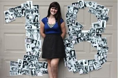 """birthday party idea - """"18""""!made of pictures of your childhood…I'm gonna do this for my 21st!"""