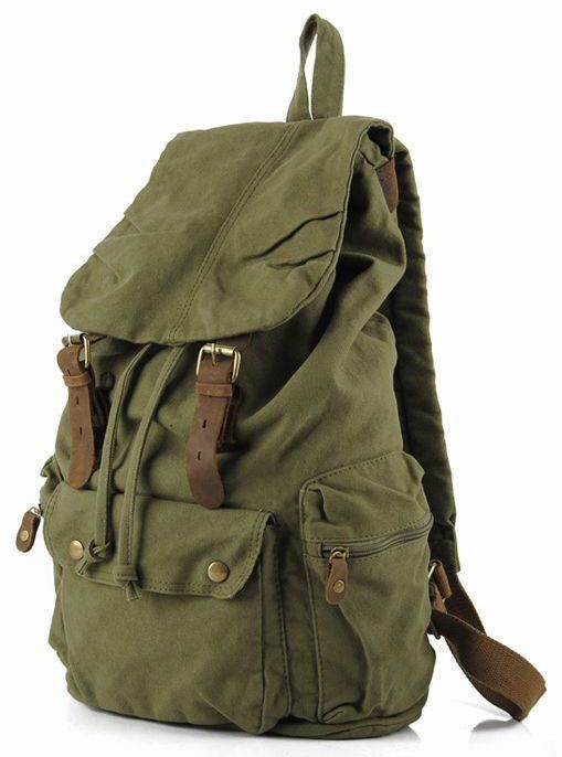 Green #Canvas Leather Hiking Travel Rucksack #Backpack #Serbags