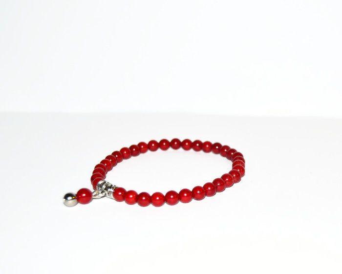 Red Bamboo Chilli Coral beaded bracelet, mens and womens unisex mala bracelet #Beaded