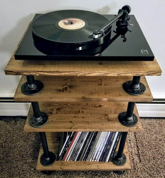 Rustic Industrial Style Record Player Stand Vinyl Storage Vinyl
