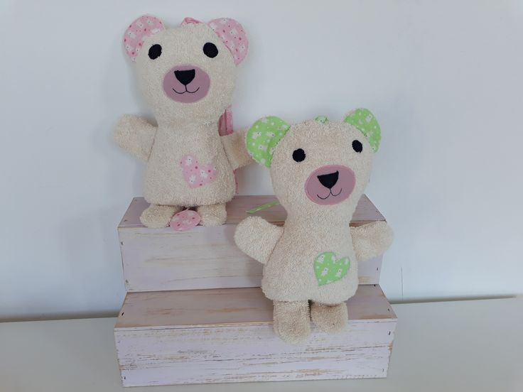 """baby musical teddy bear, made of terry cloth and cotton, as per tutorial by """"while she naps"""", music """"wonderful world"""""""