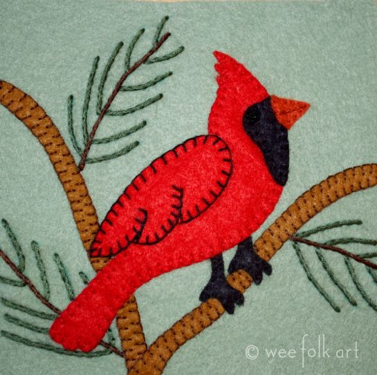 Several weeks ago a reader asked me for a applique block for a cardinal. I finally got it done  Although we have cardinals in our backyard year round, they look their loveliest in the winter world. Here, we have a male cardinal perched in a tree. I'm sure he has his eye on …