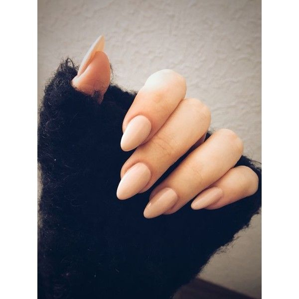 Almond nails nude ❤ liked on Polyvore featuring beauty products, nail care, nail treatments and nails