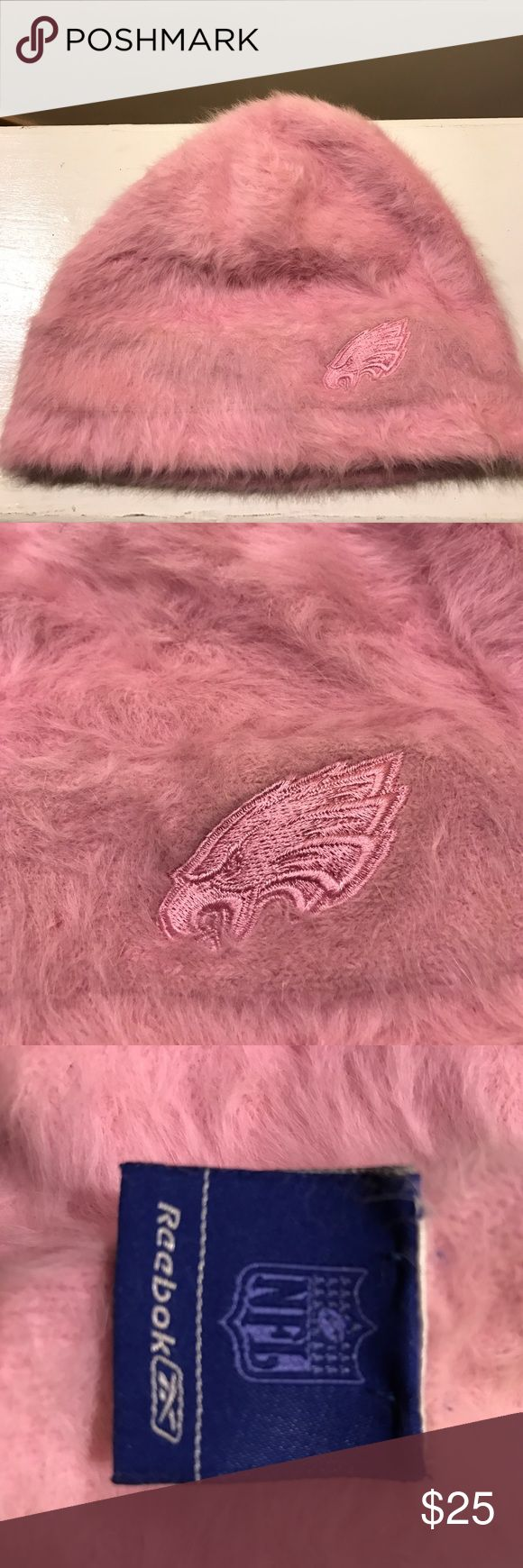✨REEBOK NFL ANGORA WINTER HAT✨ Philadelphia Eagles gear! Pink angora hat with Eagles mascot embroidered in front. Reebok Accessories Hats
