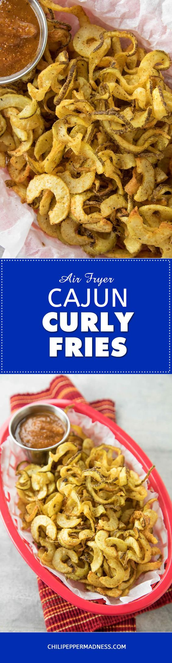 Homemade Air Fryer Cajun Curly French Fries - A recipe for crispy, crunchy seasoned curly french fries made with fresh large potatoes in an air fryer and dashed with spicy Cajun seasoning. An excellent side dish or late night snack.