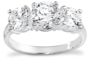 Sterling Silver 3-Stone Cubic Zirconia Ring, Size 5 --- http://www.pinterest.com.mnn.co/2lb