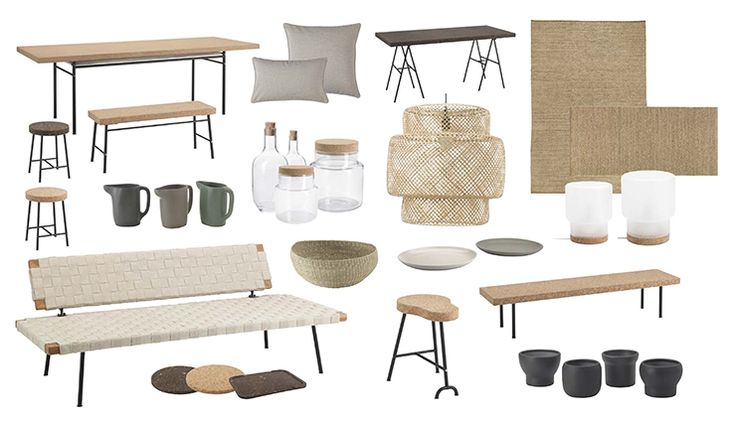 IKEA Ilse Crawford SINNERLIG collection, in stores in October '15. Cork benches and table.