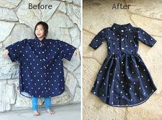 DIY: Men's XL shirt into a little girl's dress – #…