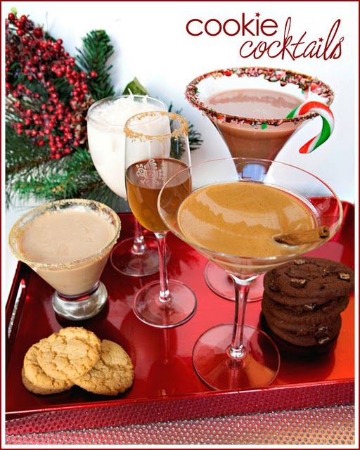 Christmas cookie Cocktails! Have to make these for a holiday party.