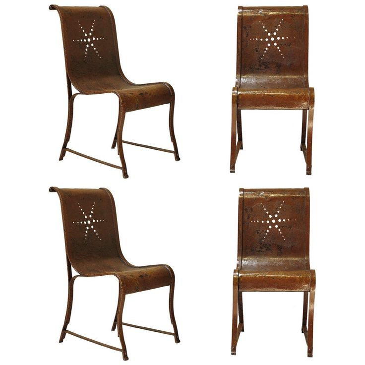set four french 1920s wrought iron garden chairs serie quatre chaises fer debut 20eme