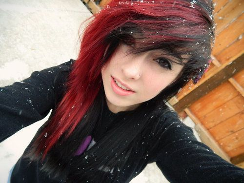 Black emo girl with red hair necessary